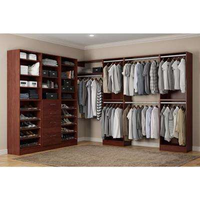 Calabria Walk In 15 in. D x 243 in. W x 84 in. H Cherry Wood Closet System