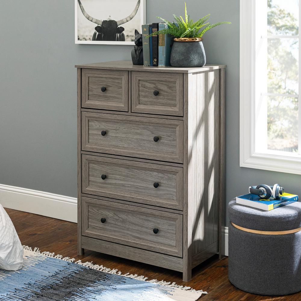 Classic 5-Drawer Slate Grey Groove Dresser
