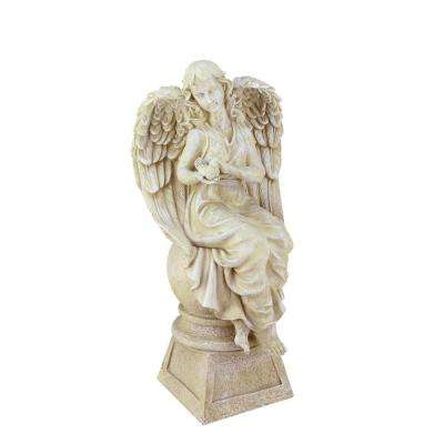 17 in. Sitting Angel with Dove Statue