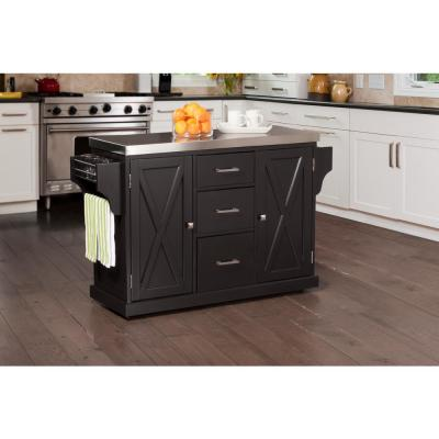 Brigham Black Kitchen Island with Stainless Steel Top