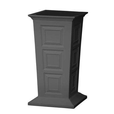 Savannah 16 in. Square Gray Poly-Resin Column Planter