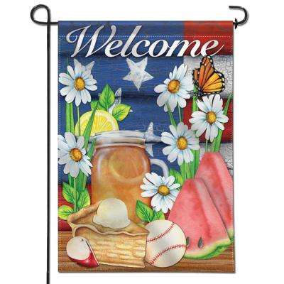 18 in. x 12.5 in. Double Sided Premium American Summer Welcome Decorative Garden Flag Weather Resistant Double Stitch