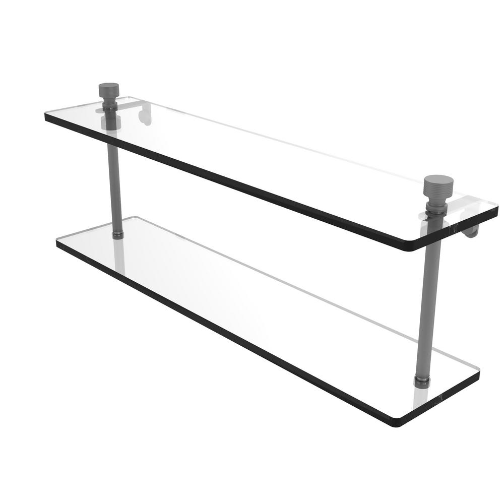 . Allied Brass Foxtrot Collection 22 in  Two Tiered Glass Shelf in Matte Gray