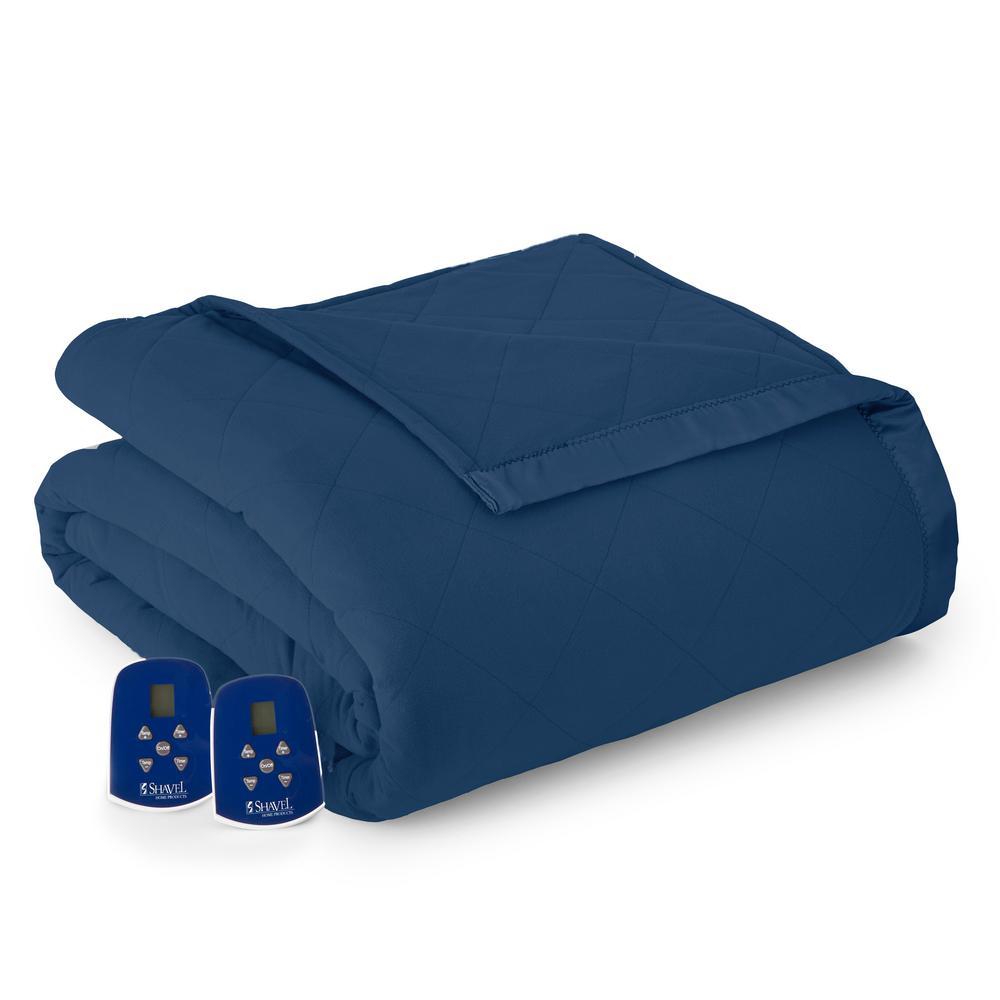 King/Cal King Smokey Mt. Blue Electric Heated Comforter/Blanket