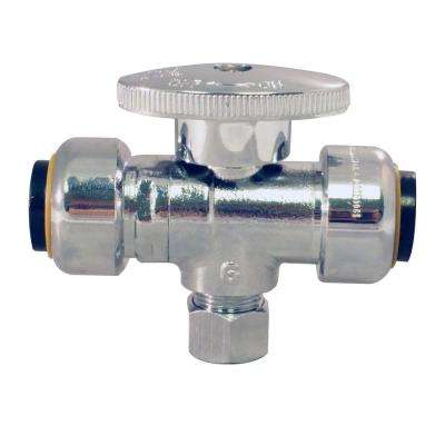 1/2 in. Chrome-Plated Brass Push-to-Connect x 1/2 in. Push-to-Connect x 3/8 in. O.D. Compression Stop Tee Valve