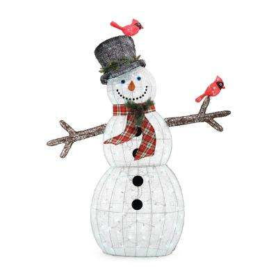 72 in. Christmas LED Acrylic Snowman with Two Birds