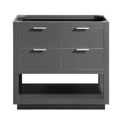 Allie 36 in. W x 21.5 in. D x 34 in. H Bath Vanity Cabinet Only in Twilight Gray with Silver Trim
