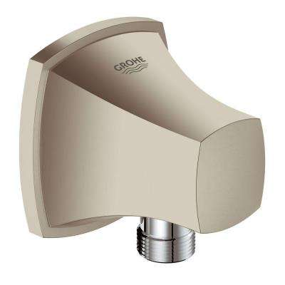 Grandera 1/2 in. NPT Threads 1-Hole Wall Mount Wall Union in Brushed Nickel InfinityFinish