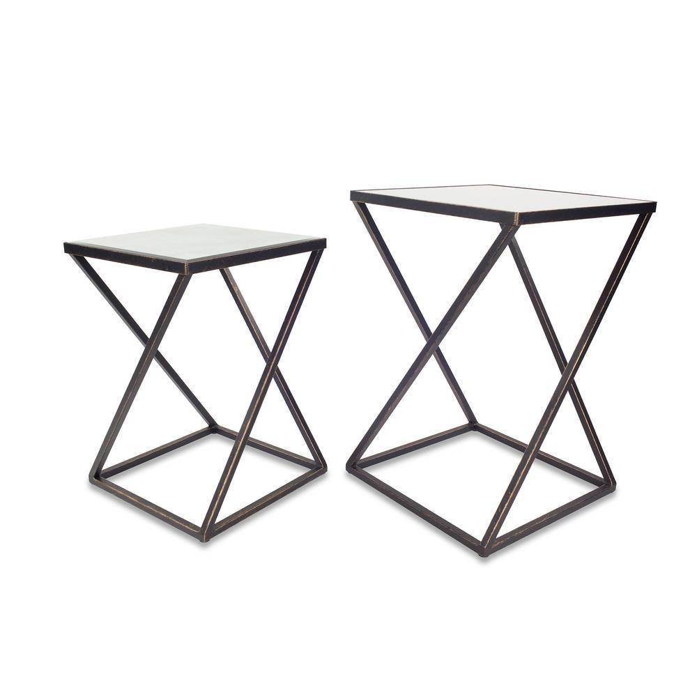 Katrine Arden Black Gold Side Table Set
