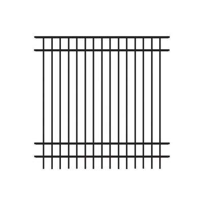 Natural Reflections Standard-Duty 6 ft. H x 6 ft. W Black Aluminum Pre-Assembled Fence Panel
