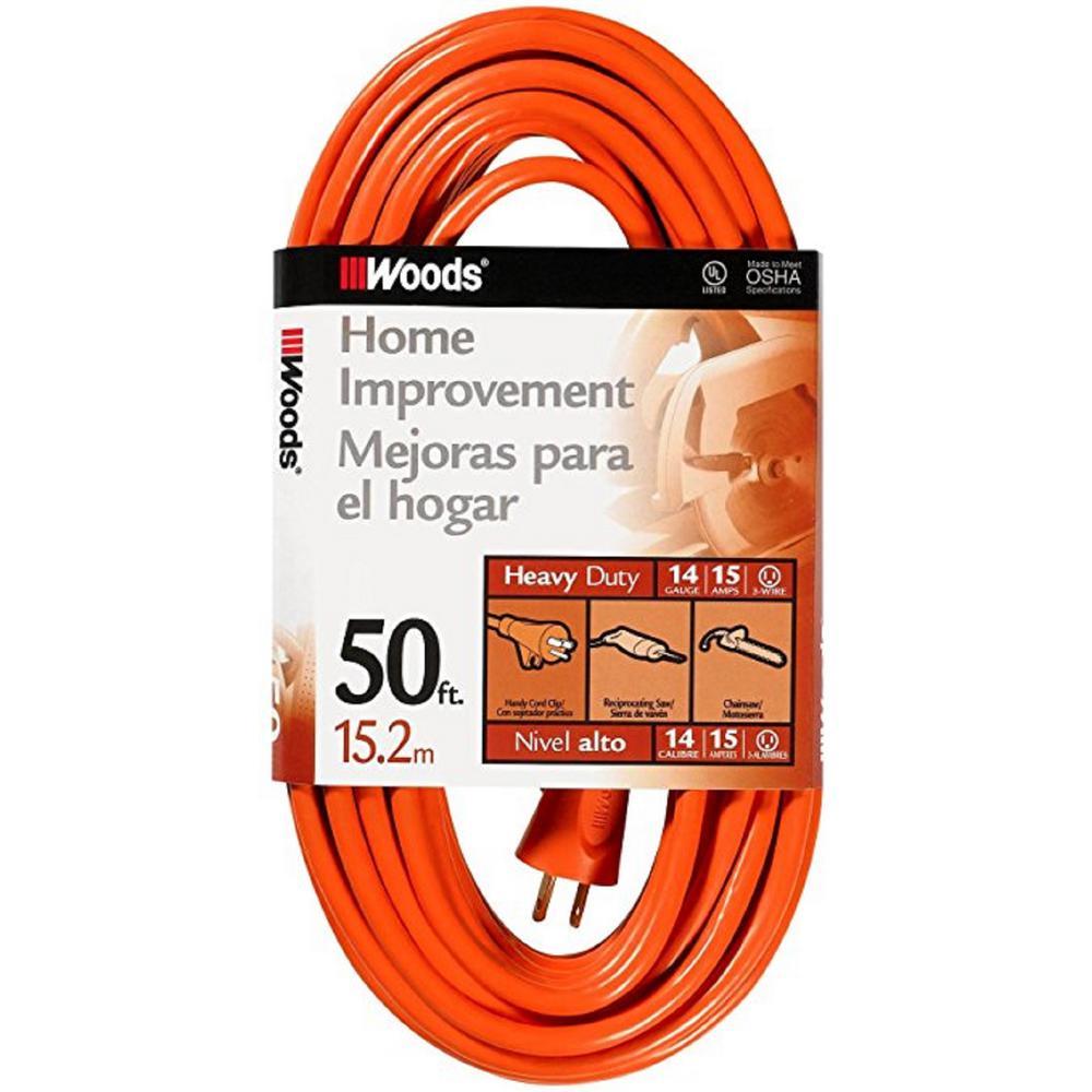 50 ft. 14/3 SJTW Orange Medium-Duty Extension Cord