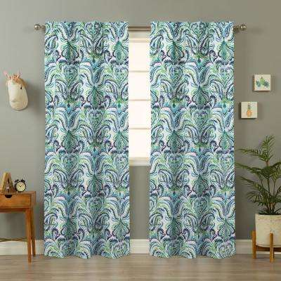 Painterly Paisley 40 in. W x 84 in. L Curtain Panel Pair in Blue