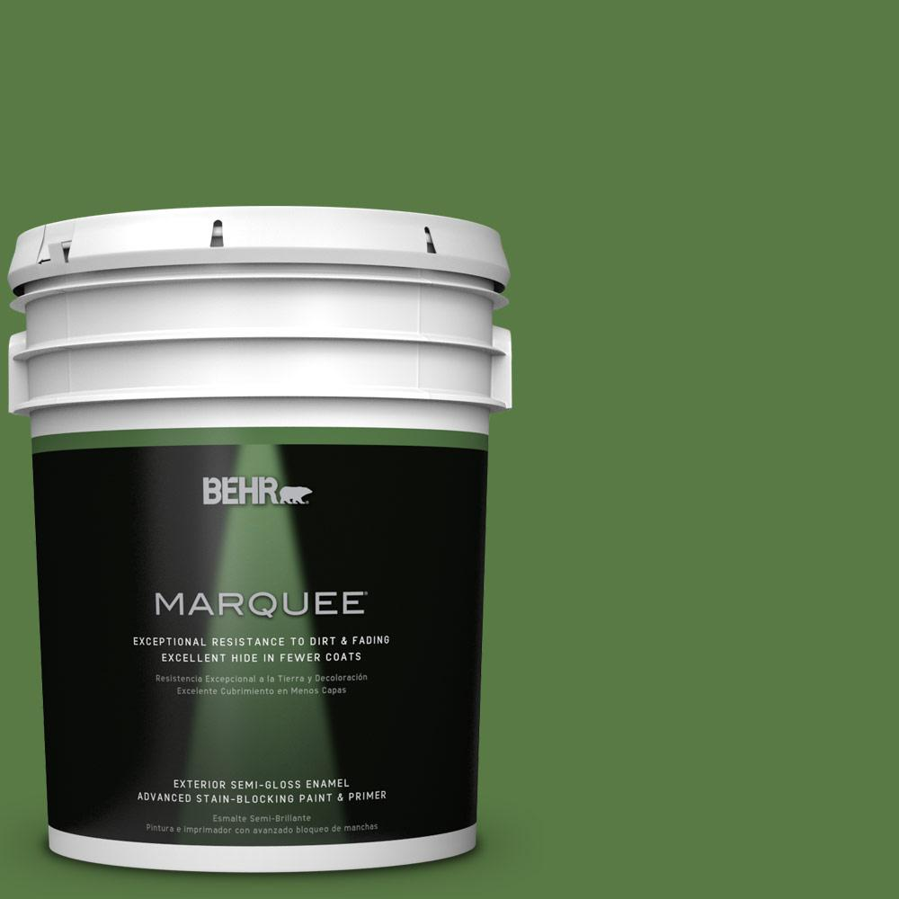 BEHR MARQUEE 5-gal. #S-H-430 Mossy Green Semi-Gloss Enamel Exterior Paint