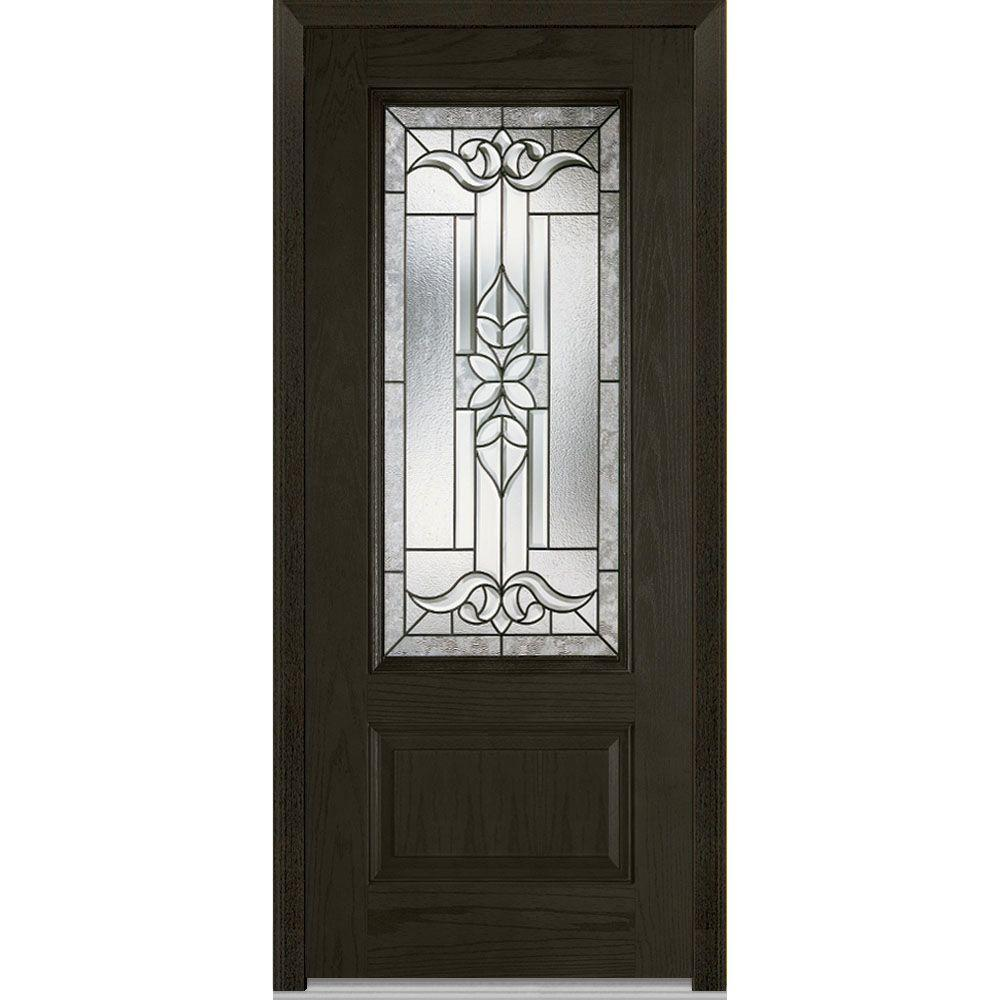 Mmi Door 37 5 In X In Cadence Decorative Glass 3 4 Lite Finished Fiberglass Oak Exterior