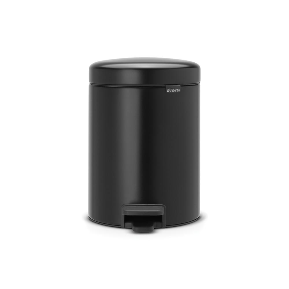 1.3 Gal. Matt Black Steel Step-On Trash Can
