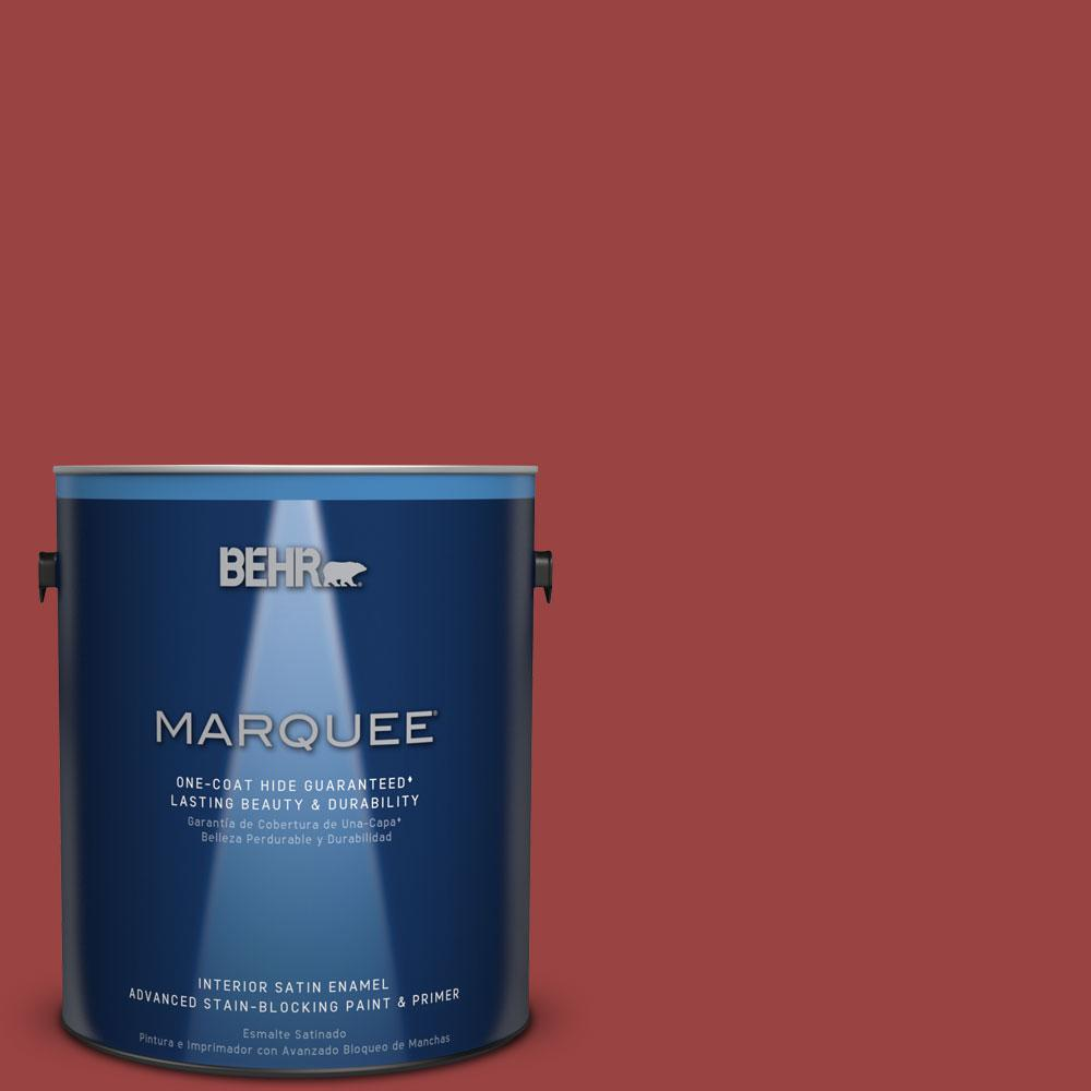 BEHR MARQUEE 1 gal. #MQ1-10 Red My Mind Satin Enamel One-Coat Hide Interior Paint and Primer in One