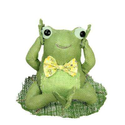 "7.5"" Green  Yellow and White Decorative Sitting Frog Spring Table Top Decoration"