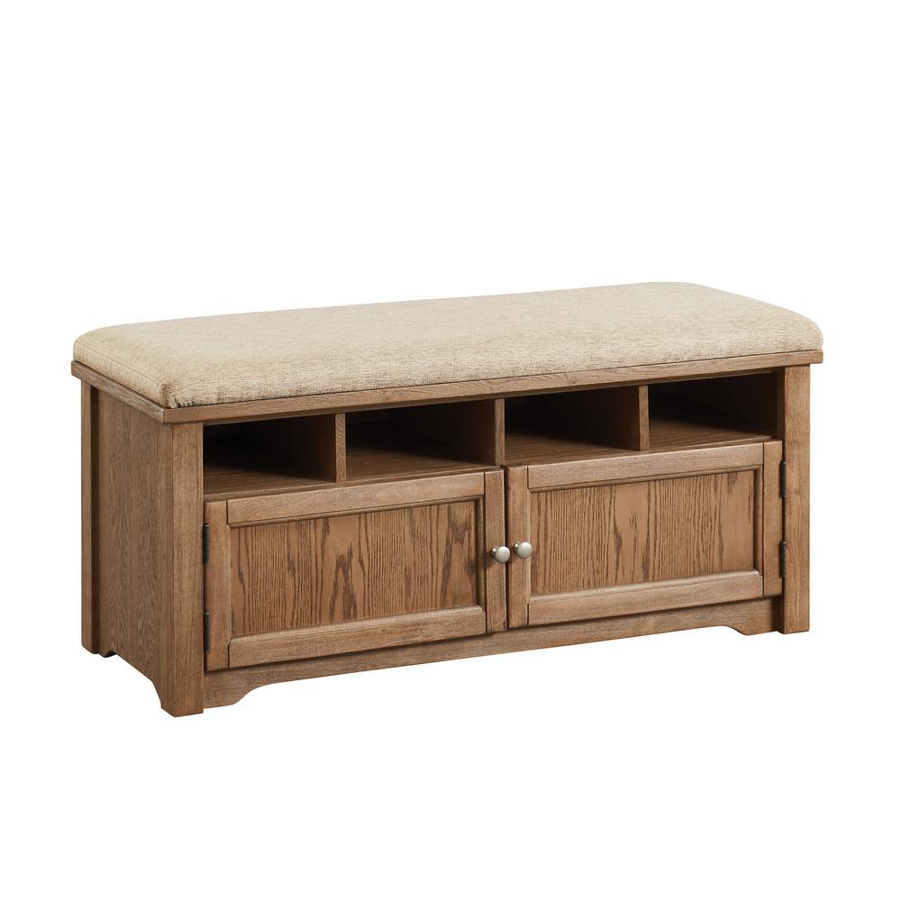 Furniture of America Janis Oak 4-Shelf Shoe Rack Bench IDF-AC308A