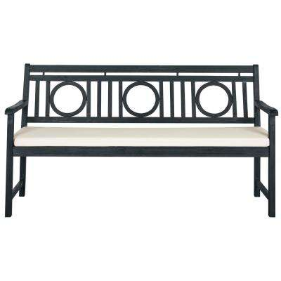 Montclair 60.6 in. 3-Seat Dark Slate Gray Wood Outdoor Bench with Beige Cushion