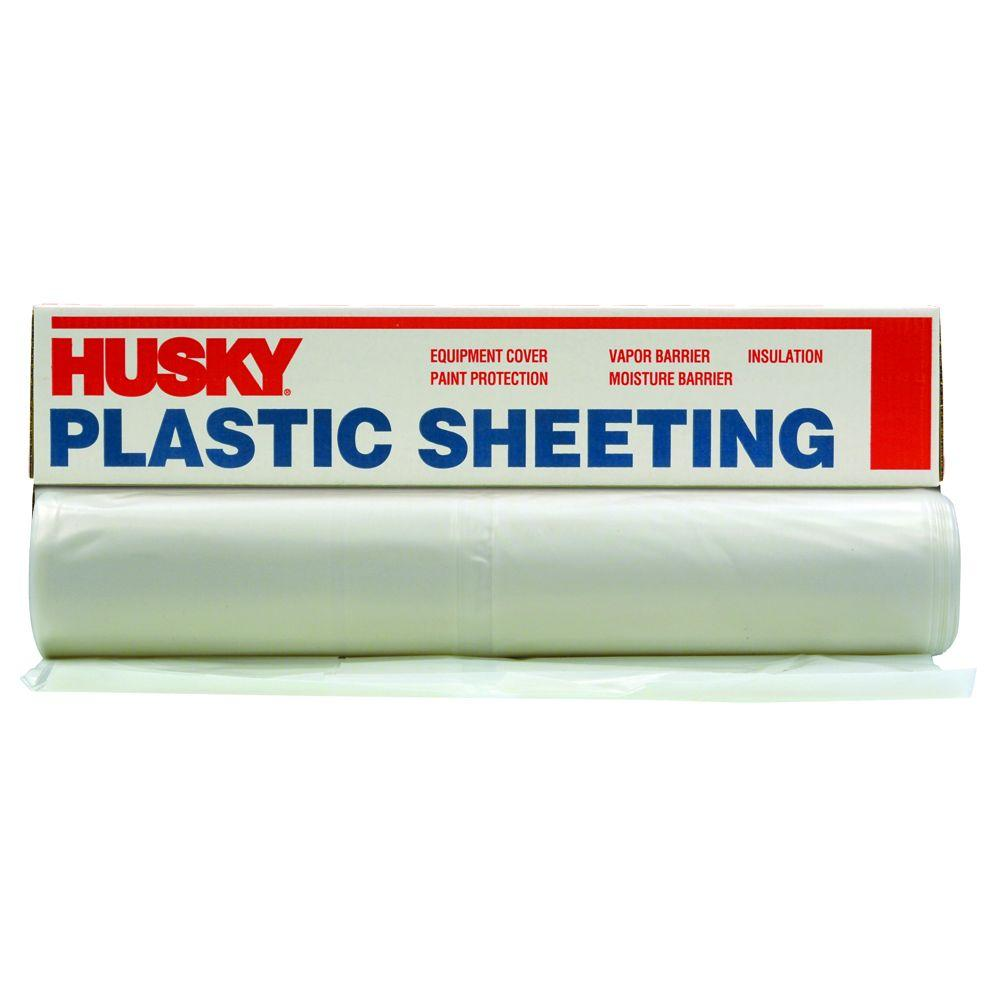 Husky 20 Ft X 200 Ft Clear 2 Mil Plastic Sheeting Cf0220 200c The Home Depot