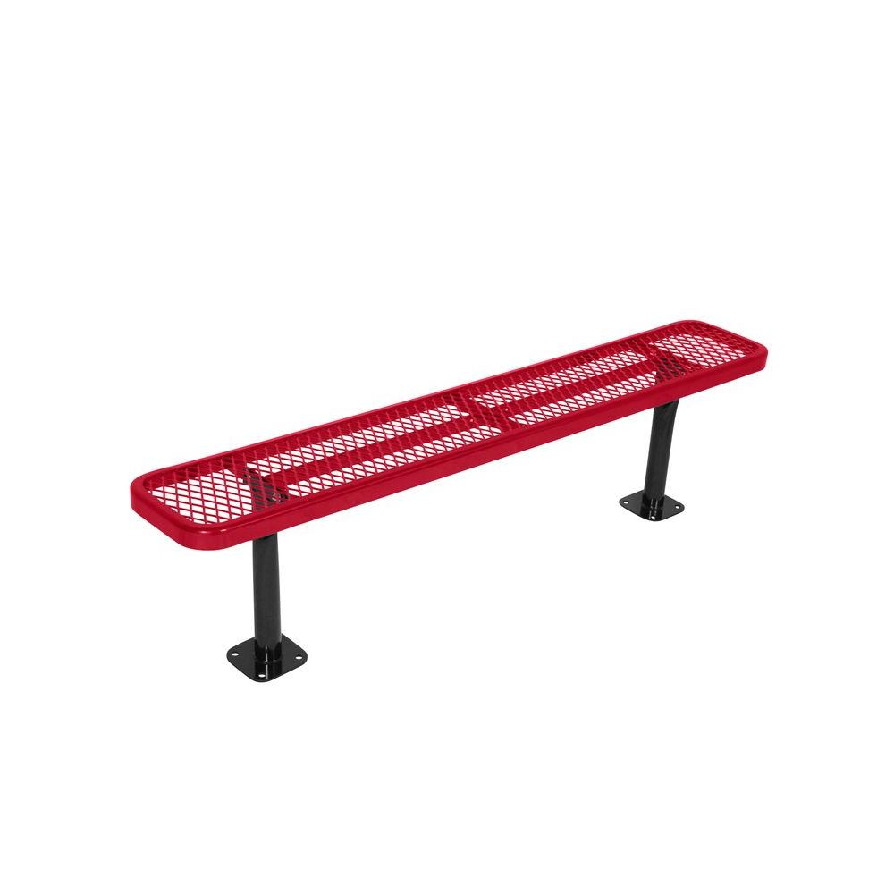 Surface Mount 6 ft. Red Diamond Commercial Park Bench without Back