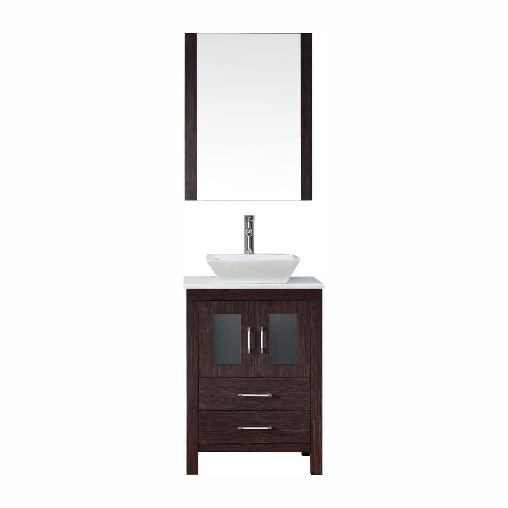 Virtu USA Dior 25 in. W Bath Vanity in Espresso with Stone Vanity Top in White with Square Basin and Mirror and Faucet