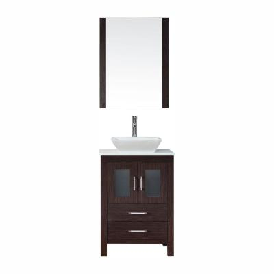 Dior 25 in. W Bath Vanity in Espresso with Stone Vanity Top in White with Square Basin and Mirror and Faucet