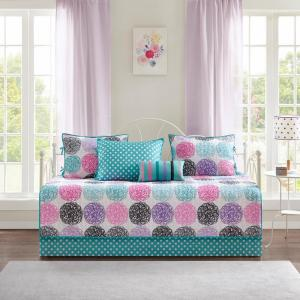 Audrina 6-Piece Purple/Multi Quilted Daybed Bedding Set