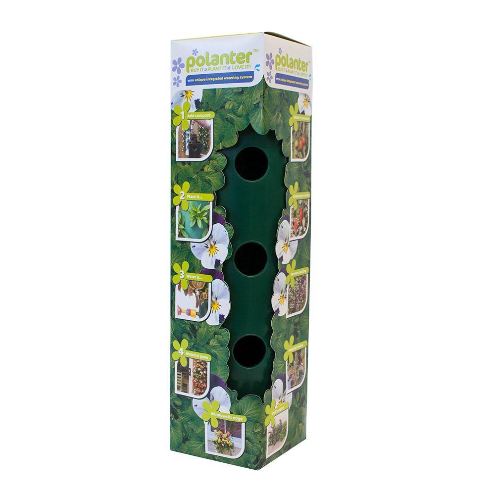 5.5 in. x 5.5 in. x 21 in. Plastic Dark Green 3-Way Planter