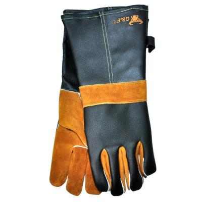 Cowhide Grain Leather BBQ and Fireplace Gloves with Extra Long Cuff