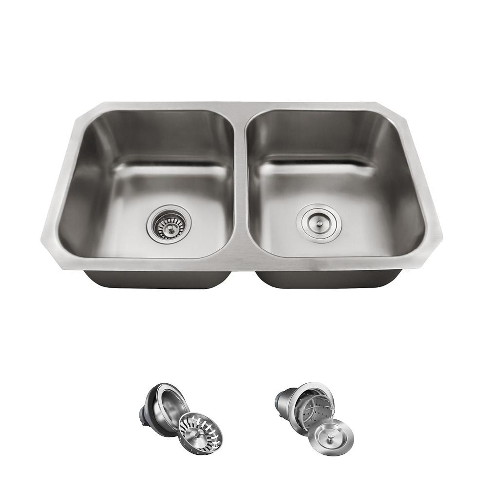 MR Direct All-in-One Undermount Stainless Steel 32 in. Double Bowl ...