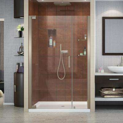 Elegance 36 in. x 48 in. x 74.75 in. Semi-Frameless Pivot Shower Door in Brushed Nickel and Center Drain Shower Base