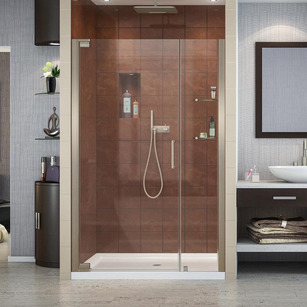 Elegance 42-1/2 in. to 44-1/2 in. x 72 in. Semi-Frameless Pivot Shower Door in Brushed Nickel