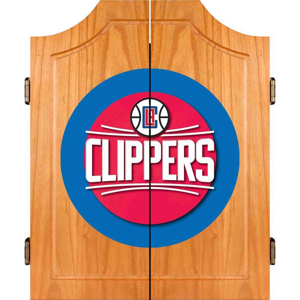 Trademark NBA Los Angeles Clippers Wood Finish Dart Cabinet Set