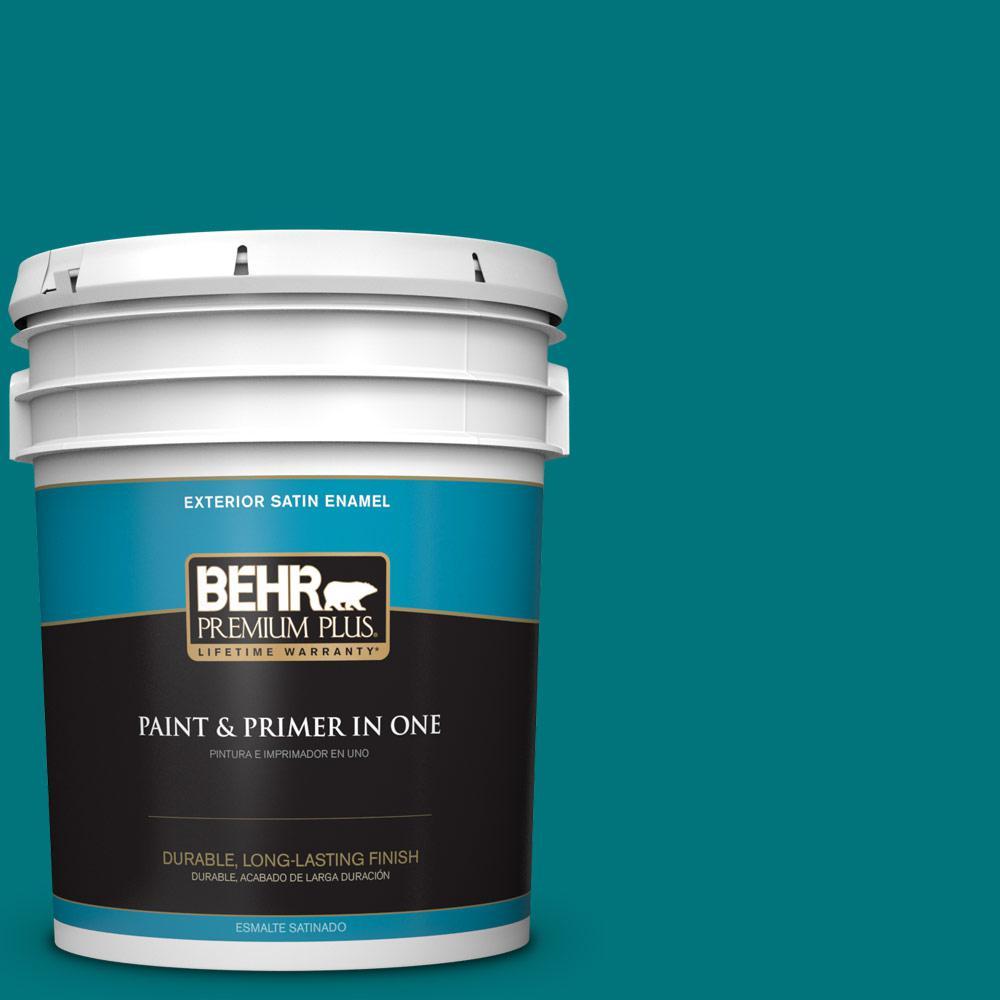 5 gal. #T15-3 Essential Teal Satin Enamel Exterior Paint
