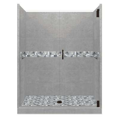 Newport Grand Hinged 32 in. x 36 in. x 80 in. Center Drain Alcove Shower Kit in Wet Cement and Black Pipe Hardware