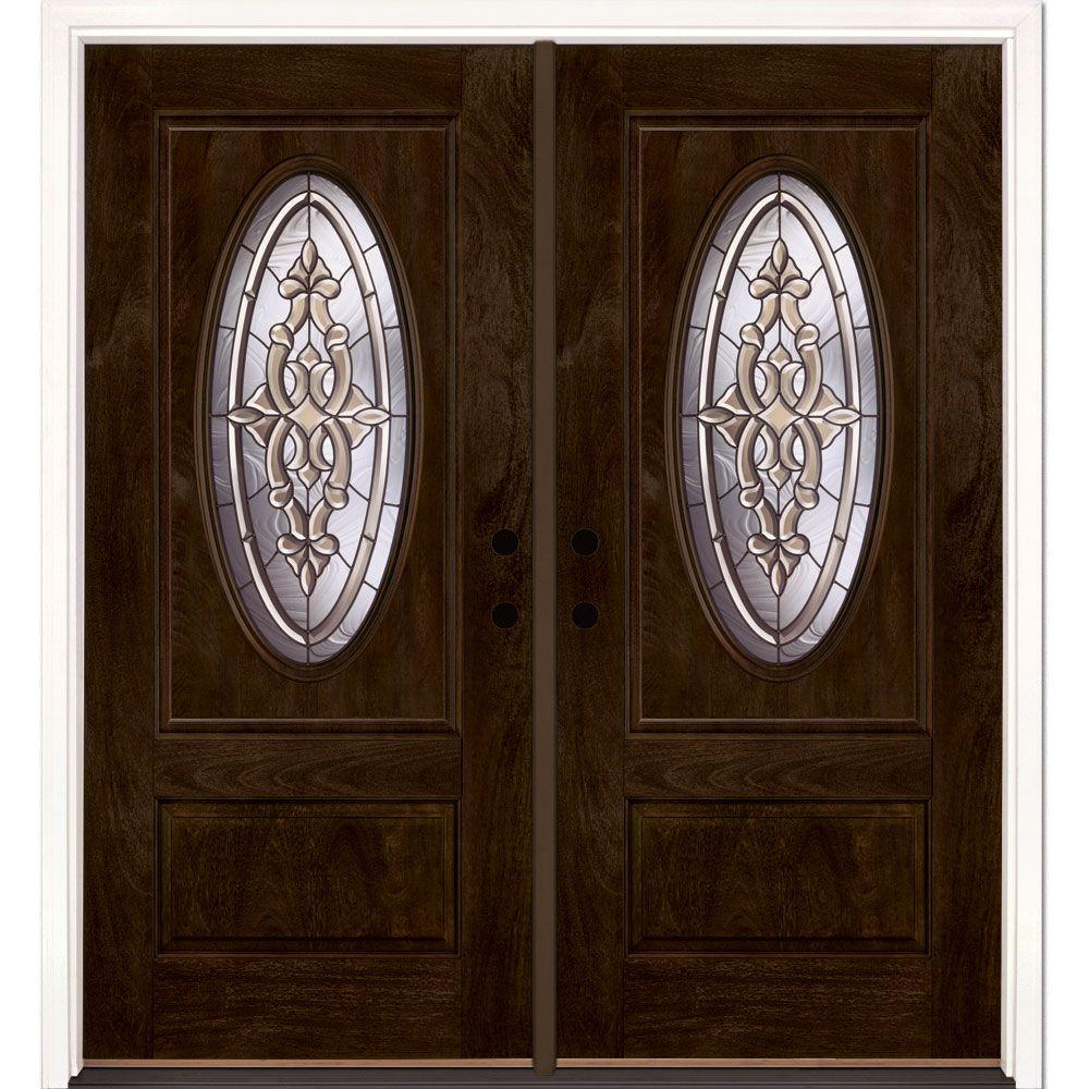 Feather River Doors 74 in.x81.625in.Silverdale Patina 3/4 Oval Lt Stained Chestnut Mahogany Right-Hand Fiberglass Double Prehung Front Door
