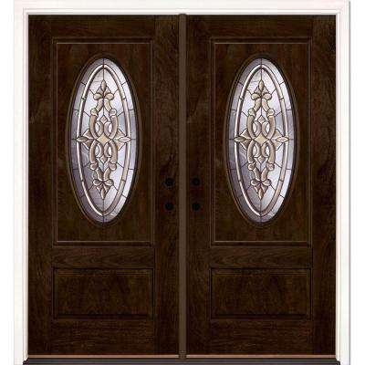 74 in.x81.625in.Silverdale Patina 3/4 Oval Lt Stained Chestnut Mahogany Right-Hand Fiberglass Double Prehung Front Door