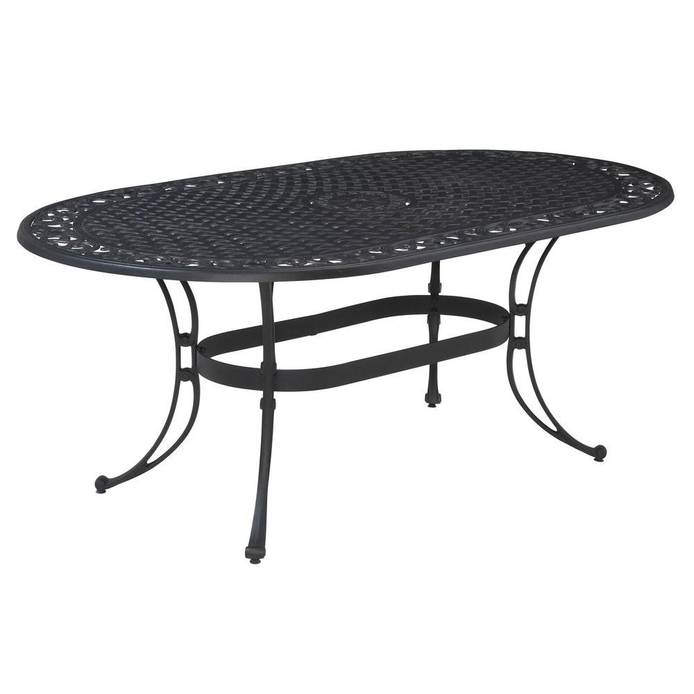 Home Styles Biscayne 72 In X 42 Black Oval Patio Dining Table