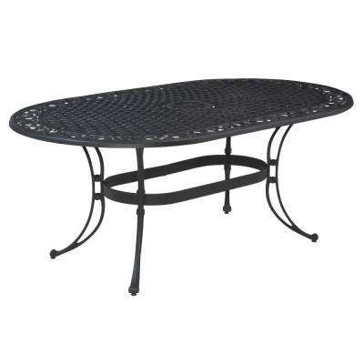 Biscayne 72 in. x 42 in. Black Oval Patio Dining Table