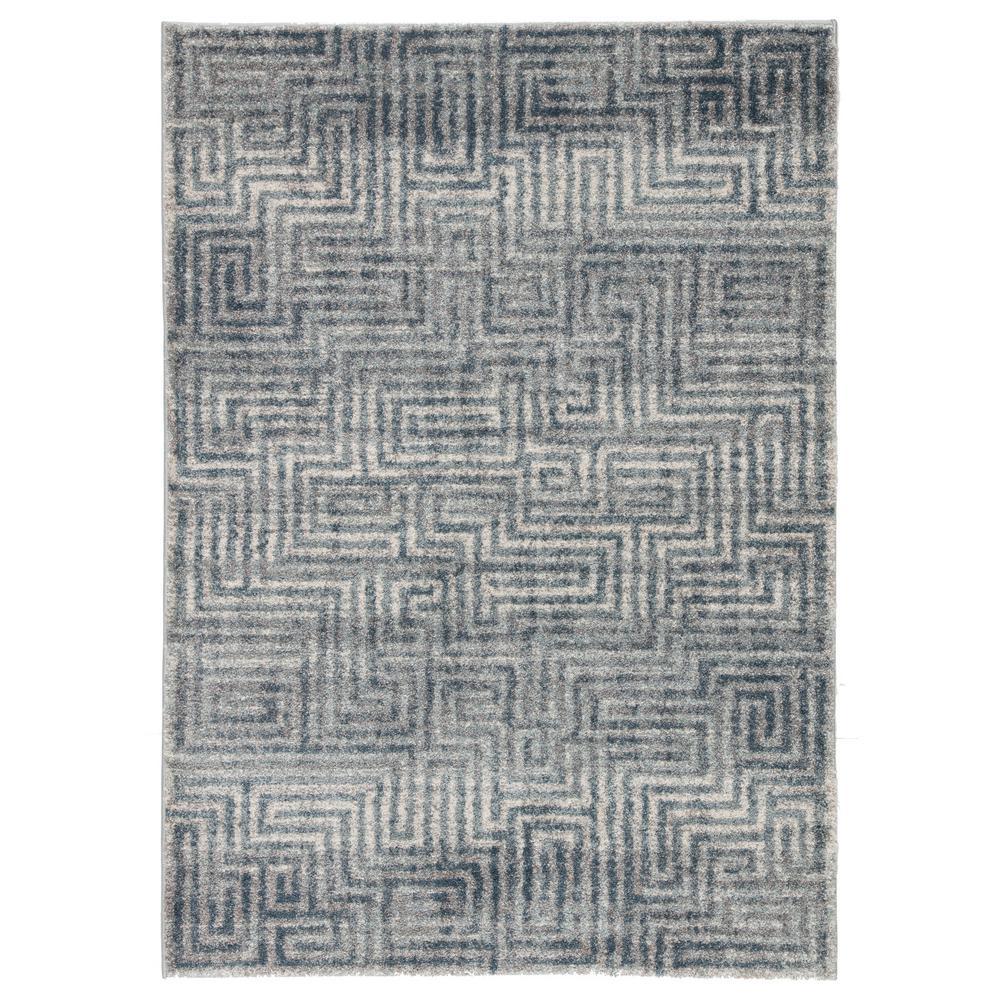 Dalton Blue 2 ft. x 3 ft. Geometric Rectangle Rug