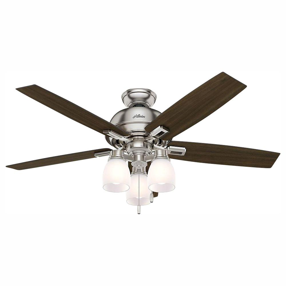 Hunter Donegan 52 in. LED Indoor Brushed Nickel Ceiling Fan with 3-Light