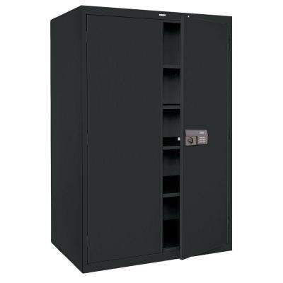 78 in. H x 48 in.W x 24 in. D 5-Shelf Steel Quick Assembly Keyless Electronic Coded Storage Cabinet in Black