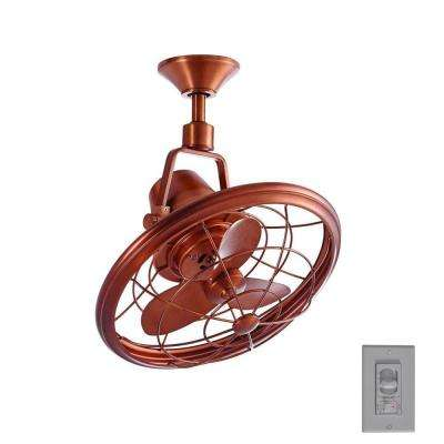 Bentley II 18 in. Indoor/Outdoor Weathered Copper Oscillating Ceiling Fan with Wall Control