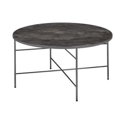 32 in. L Contemporary Style Round Gray Metal Framed Coffee Table with Marble Top