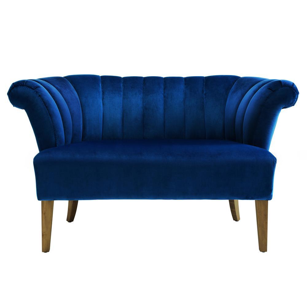 Tov furniture iris navy velvet settee