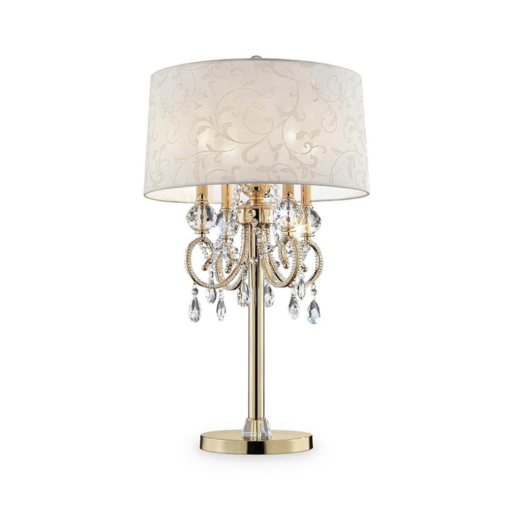 Ore international aurora 32 5 in crystal and gold table lamp with barocco print linen shade