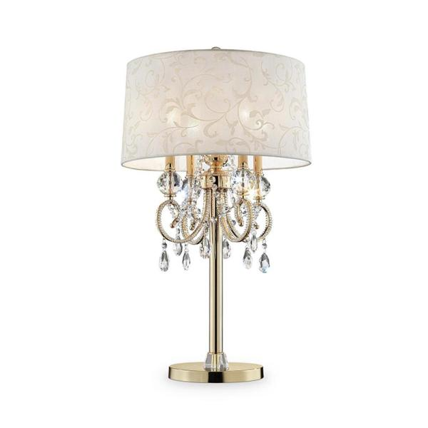 Aurora 32.5 in. Crystal and Gold Table Lamp with Barocco Print Linen Shade