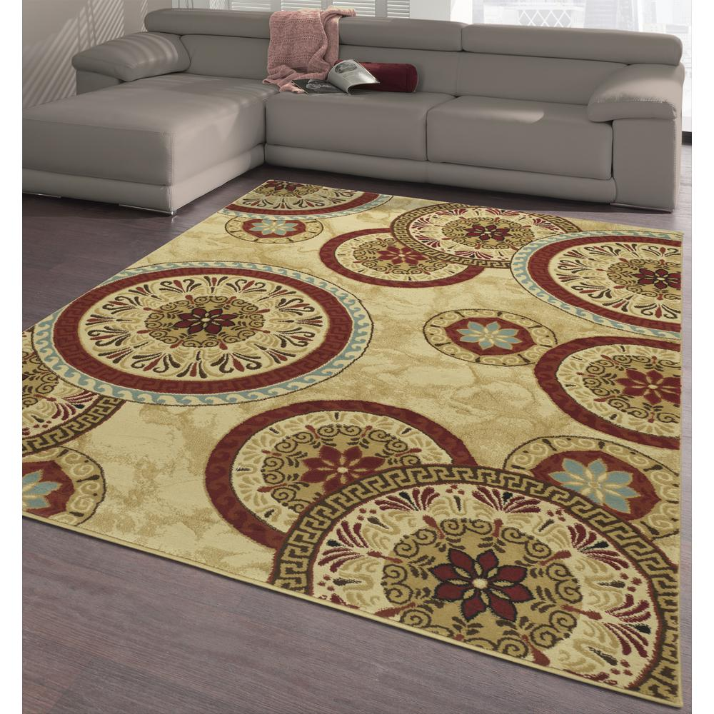 Elegant Collection Abstract Medallion Contemporary Modern Multi 5 ft. x 7  ft. Indoor Area Rug