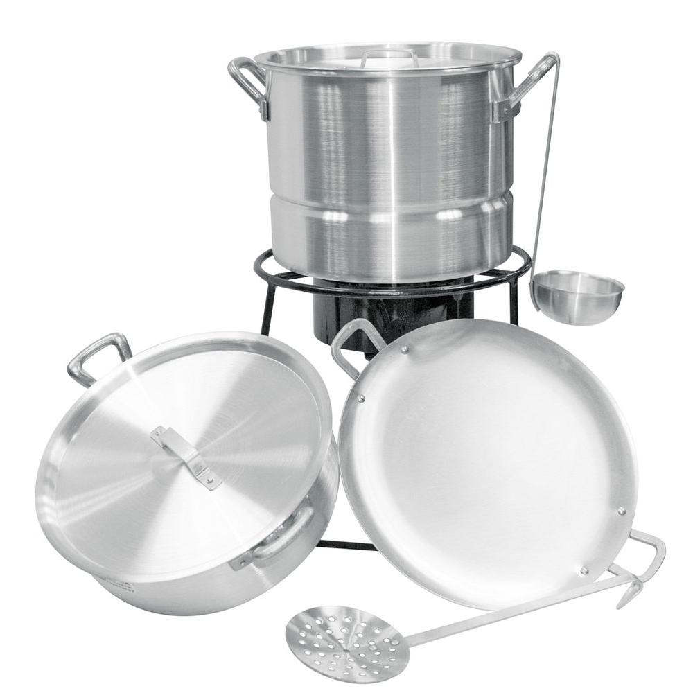 King Kooker 15,000 BTU Low Pressure Propane Gas Outdoor Cooker with 16 qt. Tamale Pot, Rice Cooker and Tortilla Pan